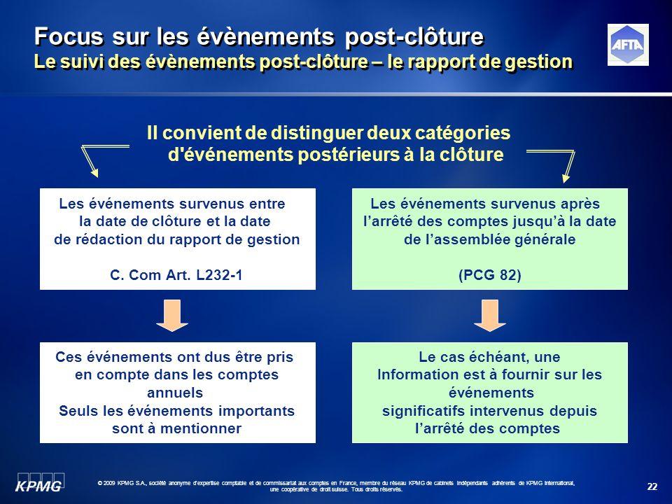 22 © 2009 KPMG S.A., société anonyme d'expertise comptable et de commissariat aux comptes en France, membre du réseau KPMG de cabinets indépendants ad