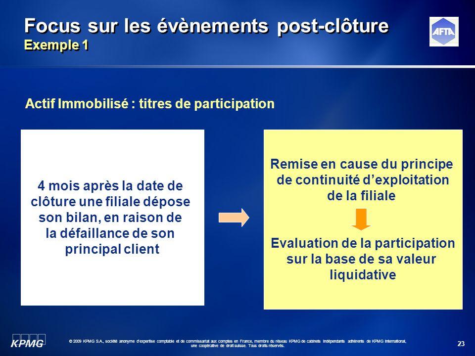 23 © 2009 KPMG S.A., société anonyme d'expertise comptable et de commissariat aux comptes en France, membre du réseau KPMG de cabinets indépendants ad