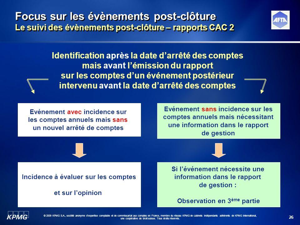 26 © 2009 KPMG S.A., société anonyme d'expertise comptable et de commissariat aux comptes en France, membre du réseau KPMG de cabinets indépendants ad