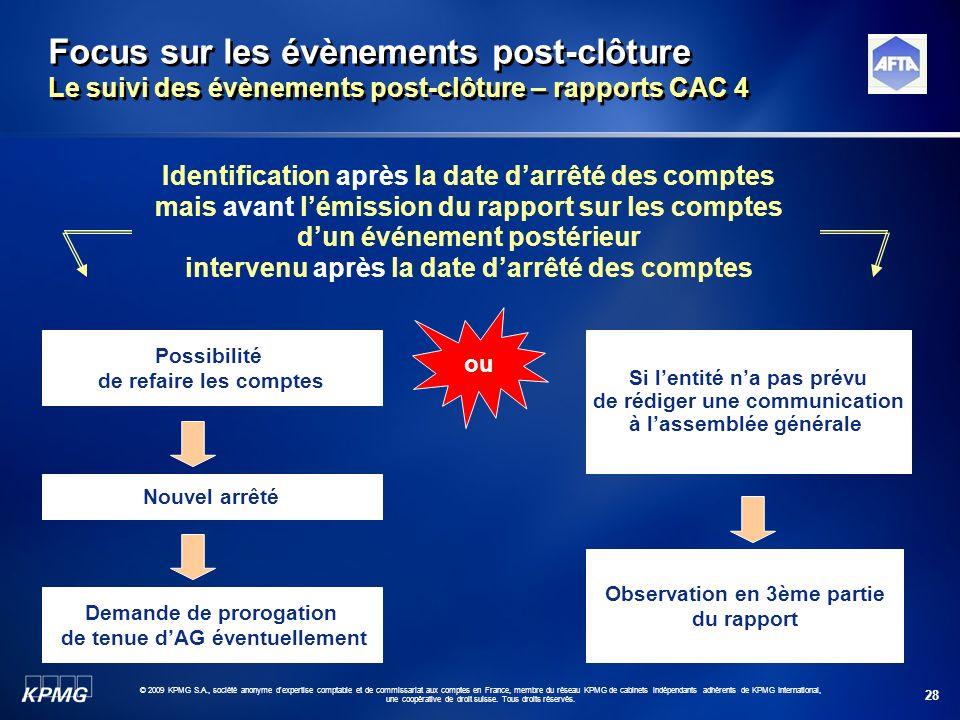 28 © 2009 KPMG S.A., société anonyme d'expertise comptable et de commissariat aux comptes en France, membre du réseau KPMG de cabinets indépendants ad