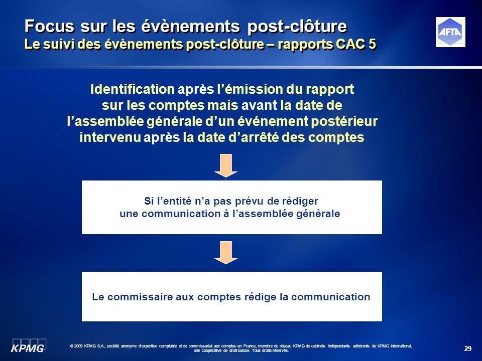 29 © 2009 KPMG S.A., société anonyme d'expertise comptable et de commissariat aux comptes en France, membre du réseau KPMG de cabinets indépendants ad