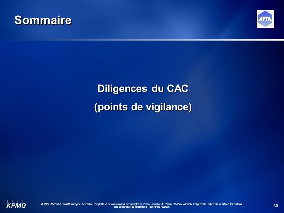 30 © 2009 KPMG S.A., société anonyme d'expertise comptable et de commissariat aux comptes en France, membre du réseau KPMG de cabinets indépendants ad
