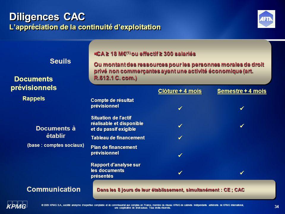 34 © 2009 KPMG S.A., société anonyme d'expertise comptable et de commissariat aux comptes en France, membre du réseau KPMG de cabinets indépendants ad