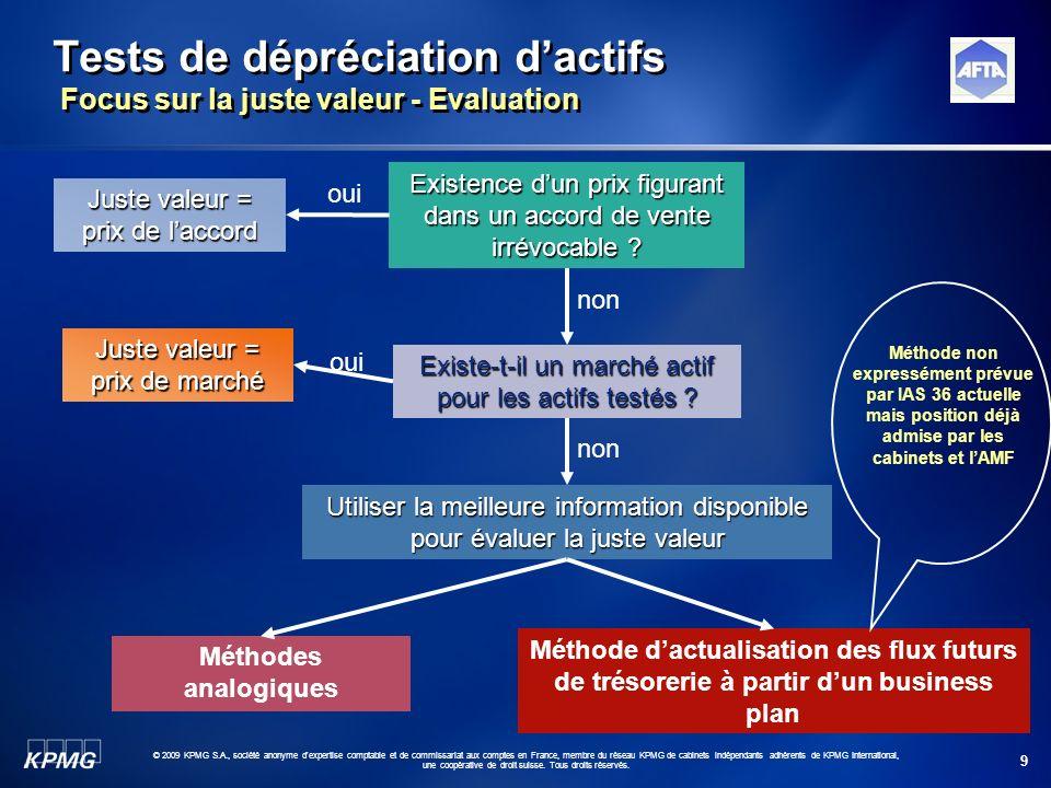 9 © 2009 KPMG S.A., société anonyme d'expertise comptable et de commissariat aux comptes en France, membre du réseau KPMG de cabinets indépendants adh