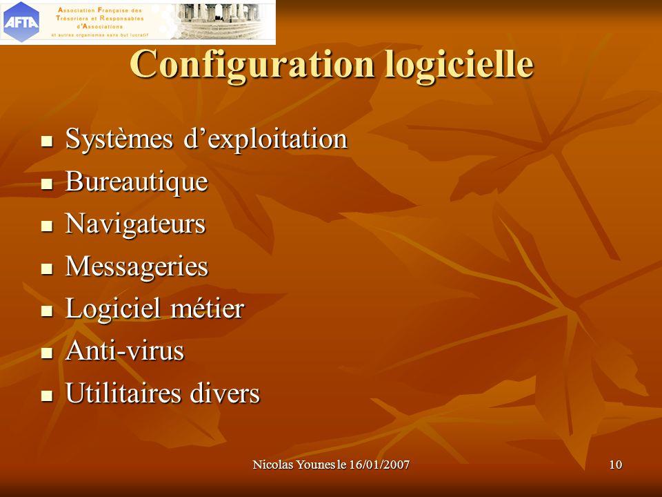 Nicolas Younes le 16/01/200710 Configuration logicielle Systèmes dexploitation Bureautique Navigateurs Messageries Logiciel métier Anti-virus Utilitai