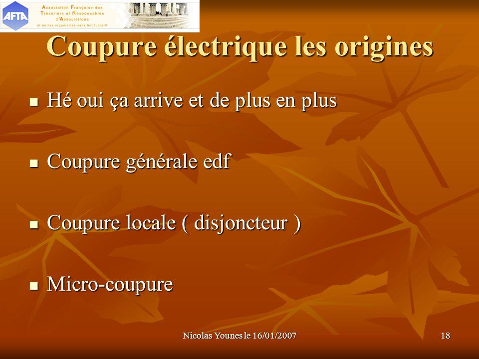 Nicolas Younes le 16/01/200718 Coupure électrique les origines Hé oui ça arrive et de plus en plus Hé oui ça arrive et de plus en plus Coupure général