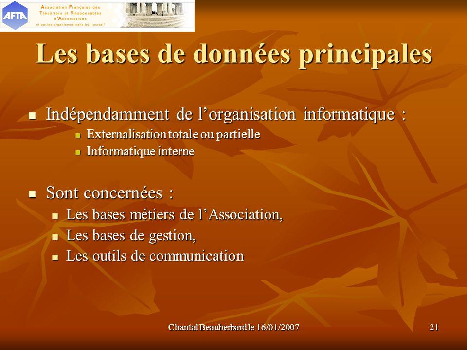 Chantal Beauberbard le 16/01/200721 Les bases de données principales Indépendamment de lorganisation informatique : Externalisation totale ou partiell