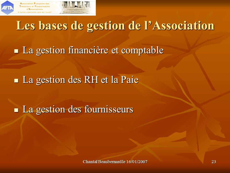 Chantal Beaubernard le 16/01/200723 Les bases de gestion de lAssociation La gestion financière et comptable La gestion financière et comptable La gest