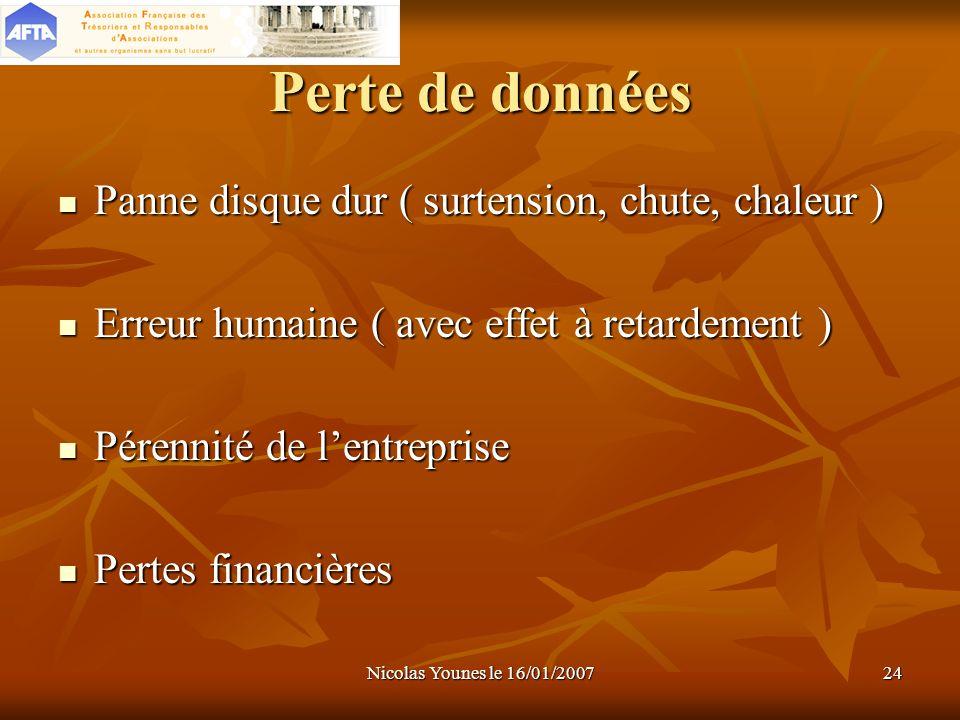Nicolas Younes le 16/01/200724 Perte de données Panne disque dur ( surtension, chute, chaleur ) Panne disque dur ( surtension, chute, chaleur ) Erreur