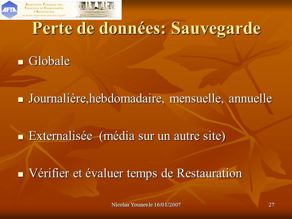 Nicolas Younes le 16/01/200727 Perte de données: Sauvegarde Globale Journalière,hebdomadaire, mensuelle, annuelle Externalisée (média sur un autre sit