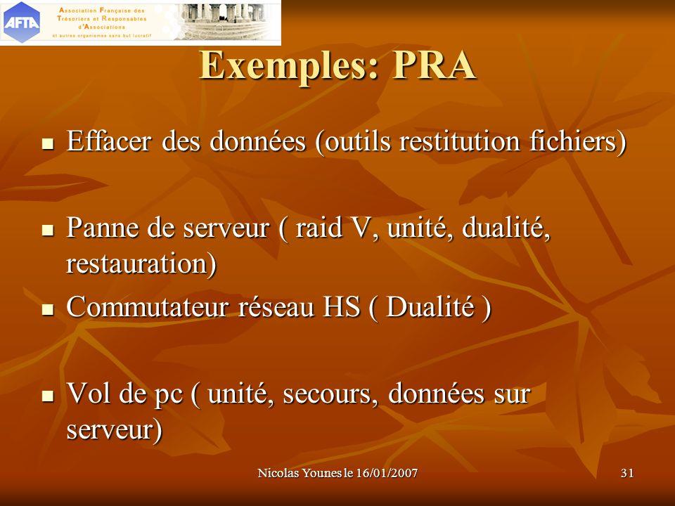 Nicolas Younes le 16/01/200731 Exemples: PRA Effacer des données (outils restitution fichiers) Effacer des données (outils restitution fichiers) Panne