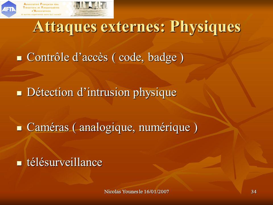 Nicolas Younes le 16/01/200734 Attaques externes: Physiques Contrôle daccès ( code, badge ) Détection dintrusion physique Caméras ( analogique, numéri