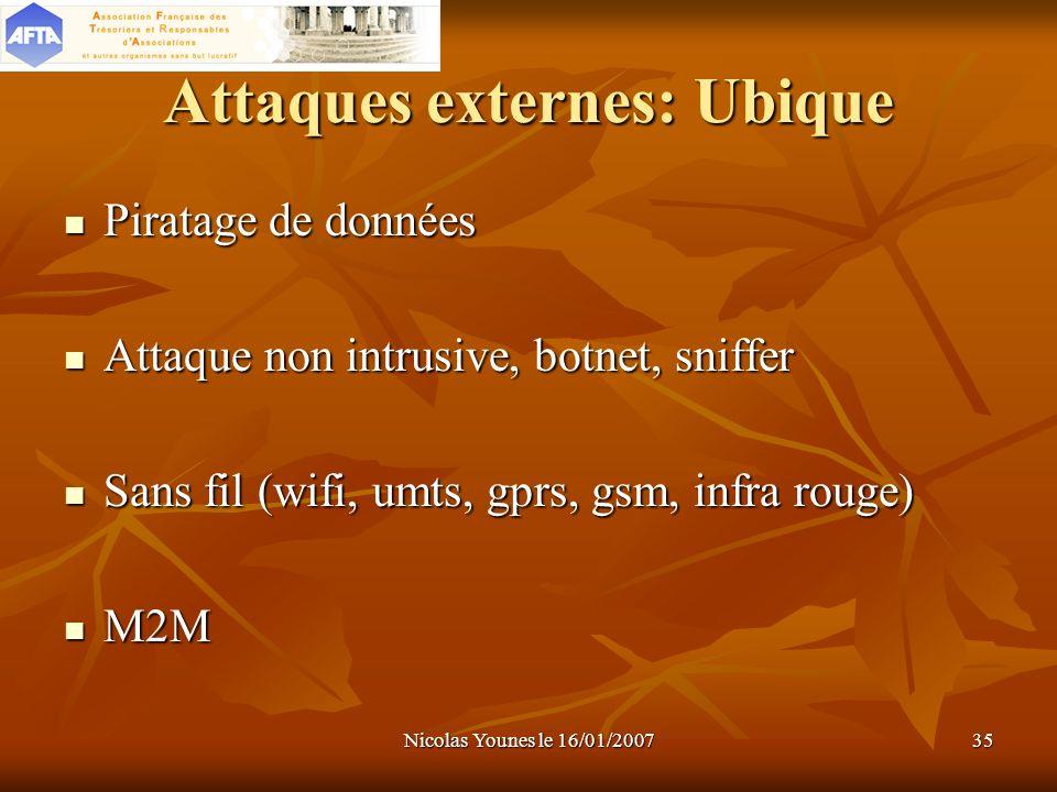Nicolas Younes le 16/01/200735 Attaques externes: Ubique Piratage de données Attaque non intrusive, botnet, sniffer Sans fil (wifi, umts, gprs, gsm, i