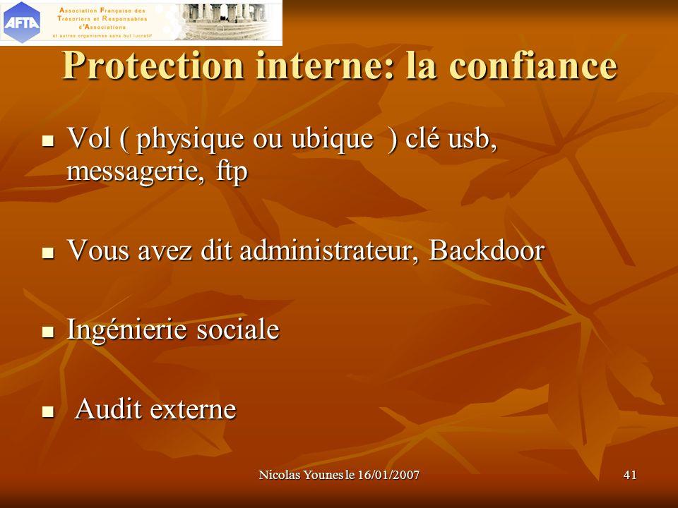 Nicolas Younes le 16/01/200741 Protection interne: la confiance Vol ( physique ou ubique ) clé usb, messagerie, ftp Vol ( physique ou ubique ) clé usb