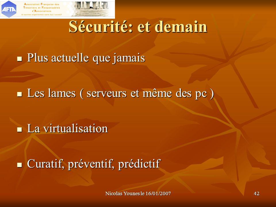 Nicolas Younes le 16/01/200742 Sécurité: et demain Plus actuelle que jamais Plus actuelle que jamais Les lames ( serveurs et même des pc ) Les lames (