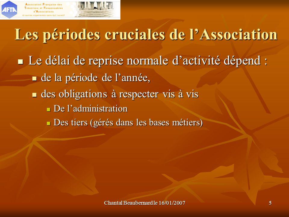 Chantal Beaubernard le 16/01/20075 Les périodes cruciales de lAssociation Le délai de reprise normale dactivité dépend : Le délai de reprise normale d