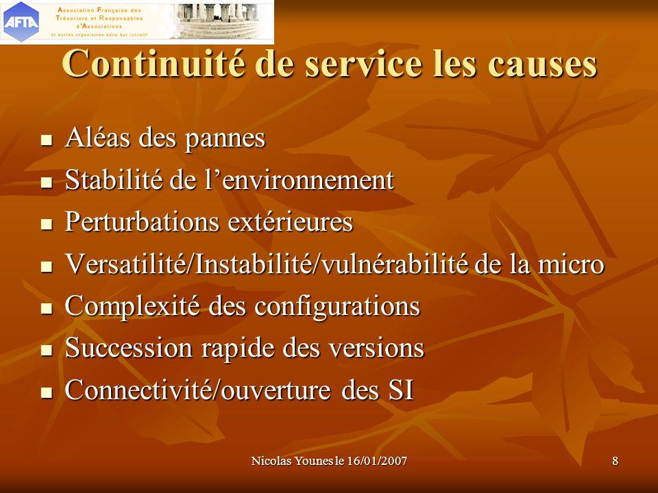 Nicolas Younes le 16/01/20078 Continuité de service les causes Aléas des pannes Stabilité de lenvironnement Perturbations extérieures Versatilité/Inst