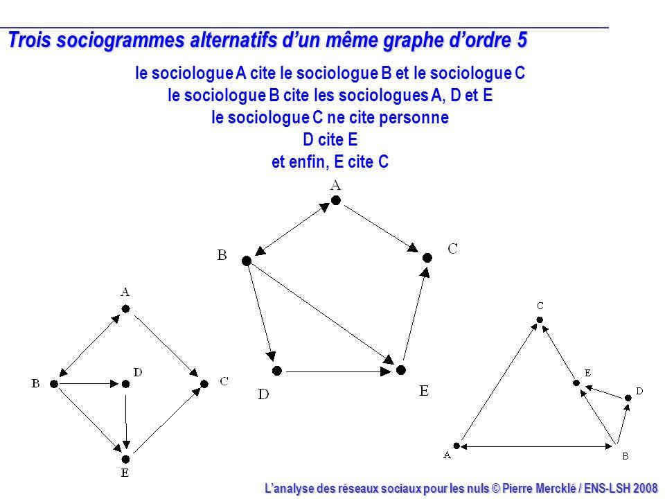 Lanalyse des réseaux sociaux pour les nuls © Pierre Mercklé / ENS-LSH 2008 Trois sociogrammes alternatifs dun même graphe dordre 5 le sociologue A cit