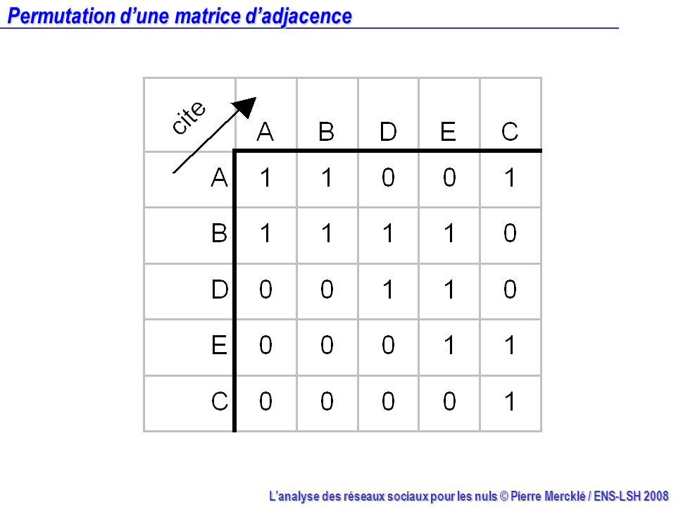 Lanalyse des réseaux sociaux pour les nuls © Pierre Mercklé / ENS-LSH 2008 Permutation dune matrice dadjacence