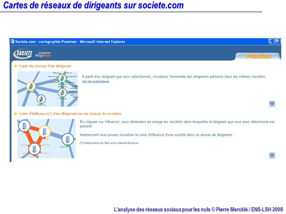 Lanalyse des réseaux sociaux pour les nuls © Pierre Mercklé / ENS-LSH 2008 Représenter des réseaux sociaux avec NetDraw NetDraw : http://www.analytictech.com Données : Fabienne Fédérini