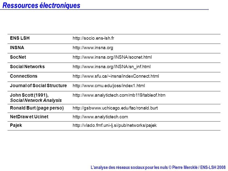 Lanalyse des réseaux sociaux pour les nuls © Pierre Mercklé / ENS-LSH 2008 Ressources électroniques ENS LSHhttp://socio.ens-lsh.fr INSNAhttp://www.ins