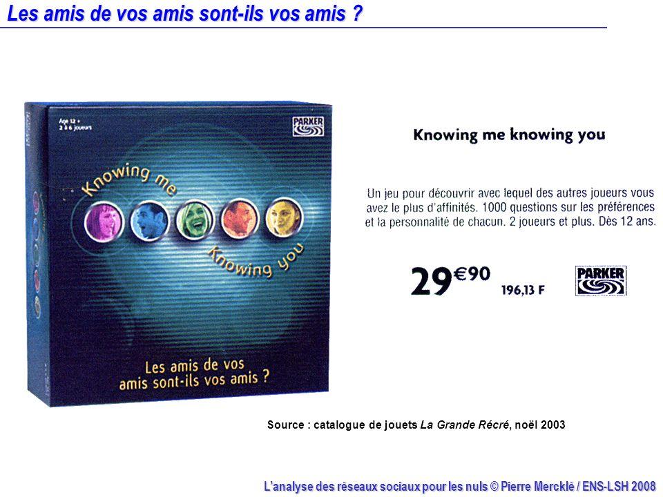 Lanalyse des réseaux sociaux pour les nuls © Pierre Mercklé / ENS-LSH 2008 Les amis de vos amis sont-ils vos amis ? Source : catalogue de jouets La Gr
