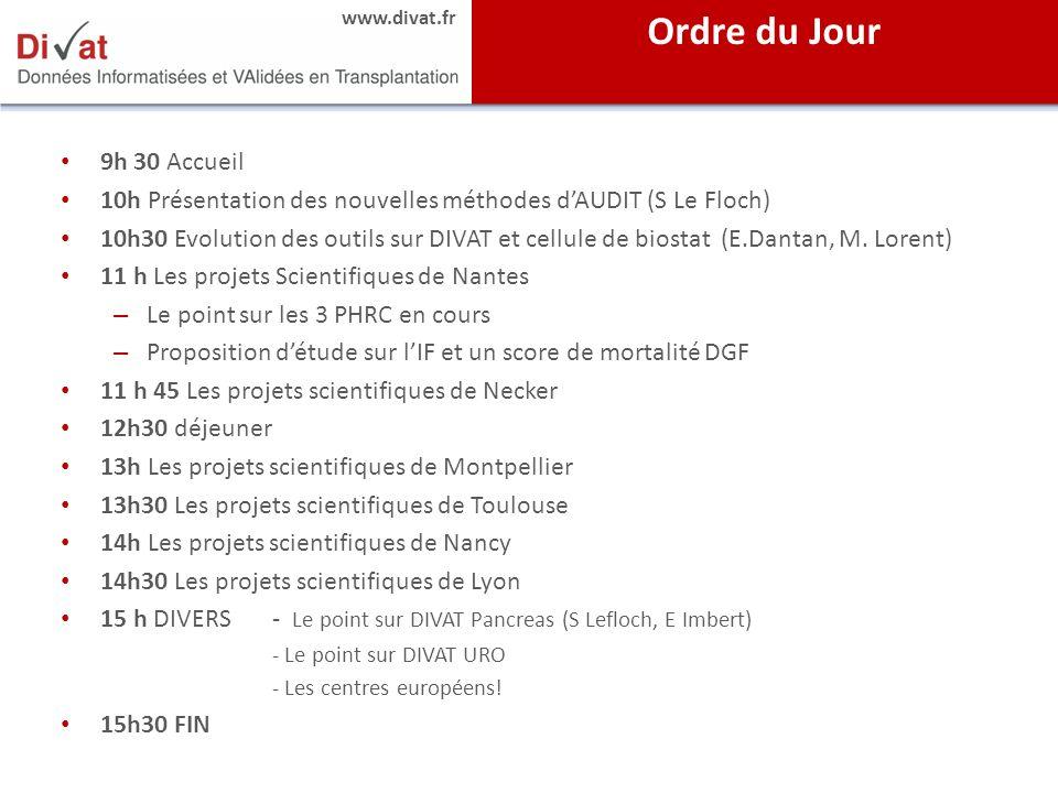 www.divat.fr 9h 30 Accueil 10h Présentation des nouvelles méthodes dAUDIT (S Le Floch) 10h30 Evolution des outils sur DIVAT et cellule de biostat (E.D