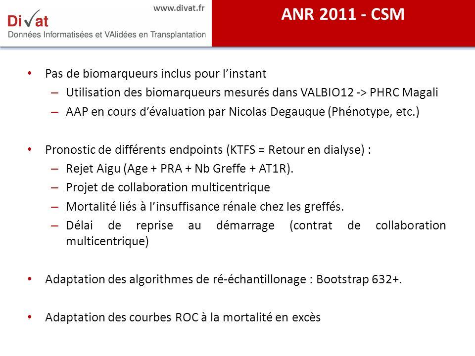 www.divat.fr Pas de biomarqueurs inclus pour linstant – Utilisation des biomarqueurs mesurés dans VALBIO12 -> PHRC Magali – AAP en cours dévaluation p