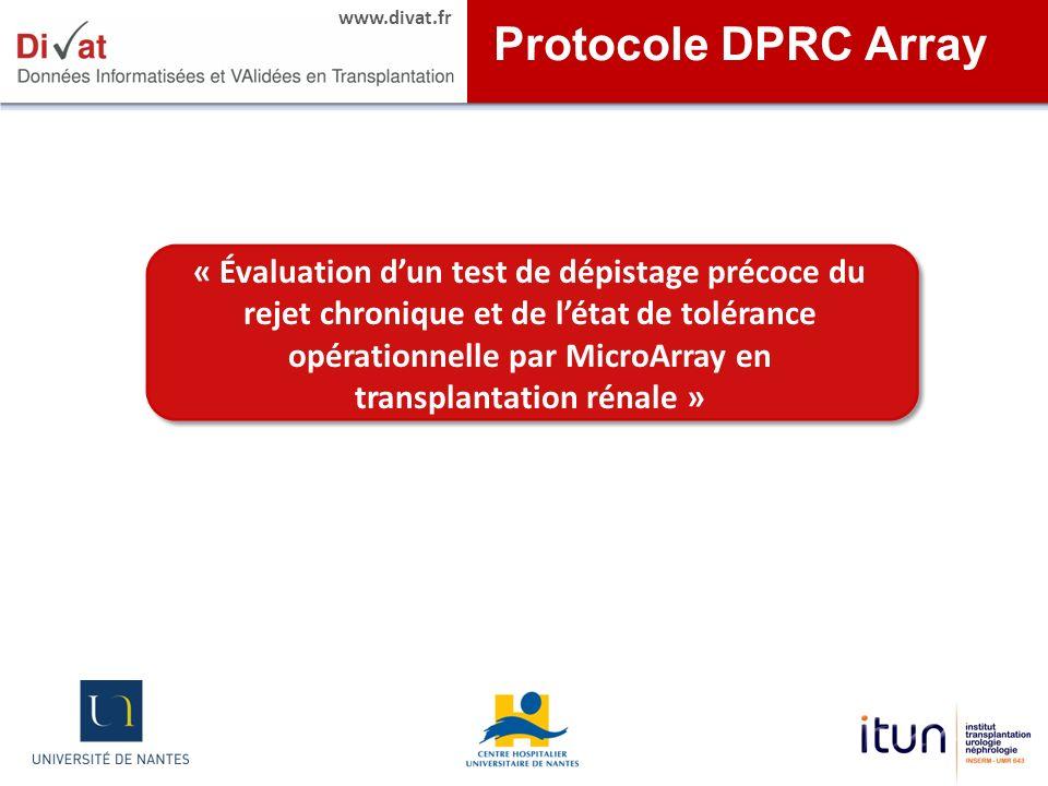 www.divat.fr « Évaluation dun test de dépistage précoce du rejet chronique et de létat de tolérance opérationnelle par MicroArray en transplantation r