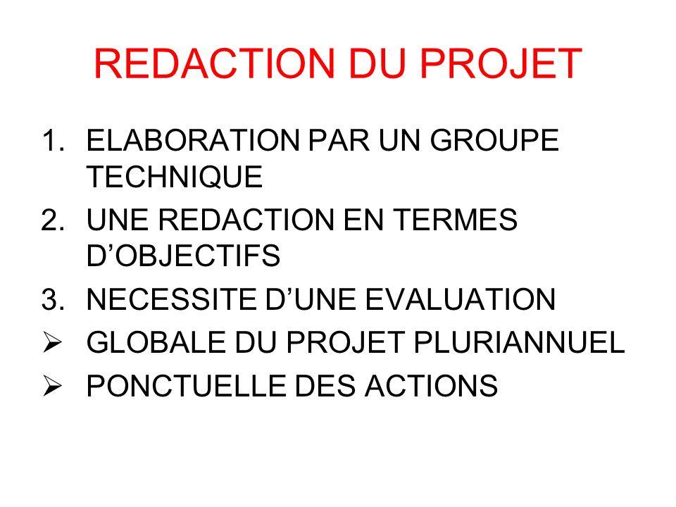 REDACTION DU PROJET 1.ELABORATION PAR UN GROUPE TECHNIQUE 2.UNE REDACTION EN TERMES DOBJECTIFS 3.NECESSITE DUNE EVALUATION GLOBALE DU PROJET PLURIANNU