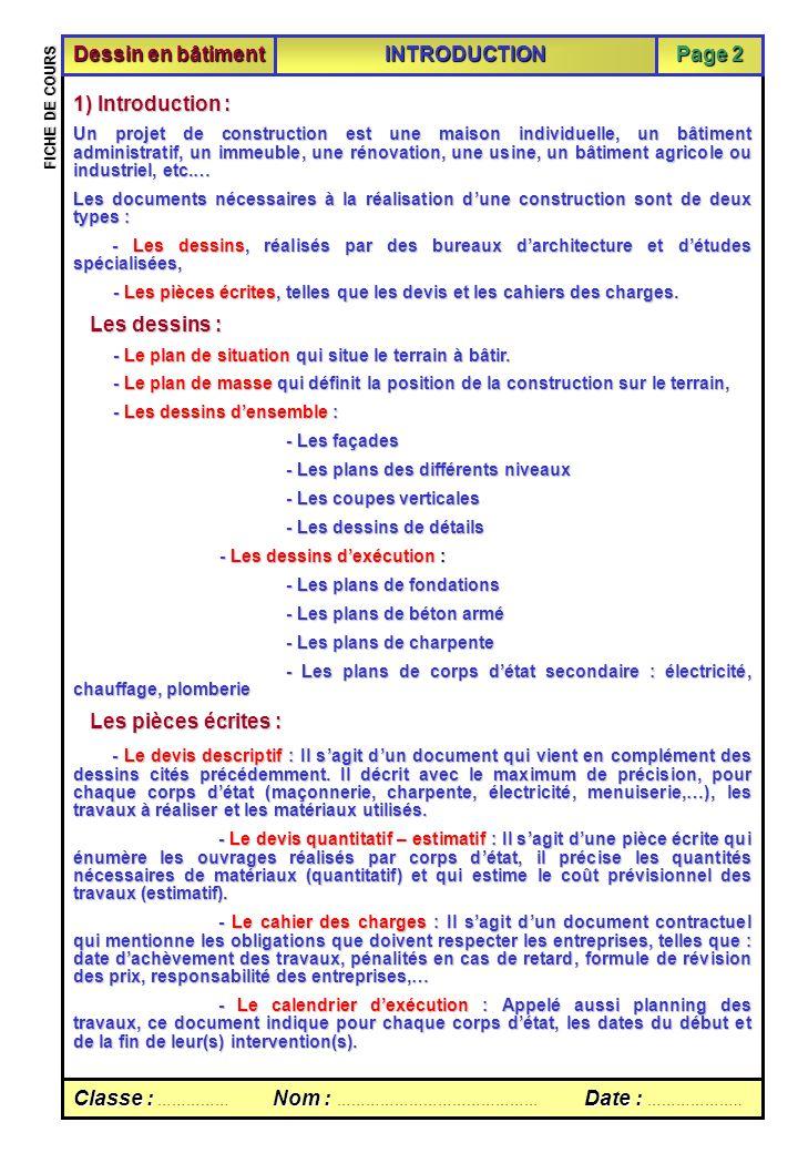 Introduction Classe :Nom :Date : Classe : …………… Nom : …………………………………… Date : ……………….. FICHE DE COURS Sommaire Dessin en bâtiment INTRODUCTION Page 2 1)