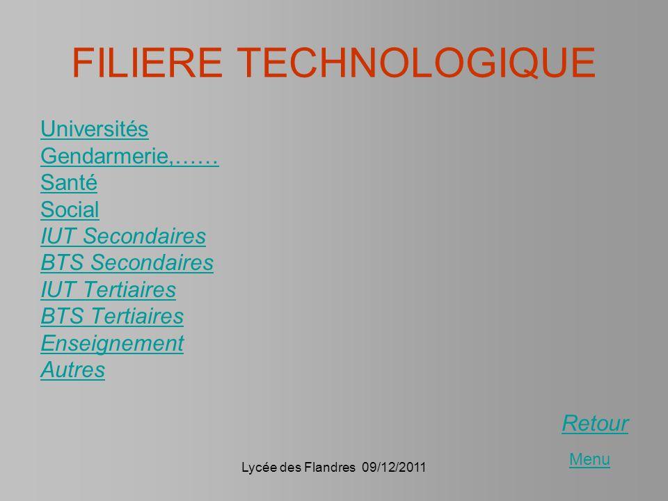 Lycée des Flandres 09/12/2011 FILIERE TECHNOLOGIQUE Universités Gendarmerie,…… Santé Social IUT Secondaires BTS Secondaires IUT Tertiaires BTS Tertiai