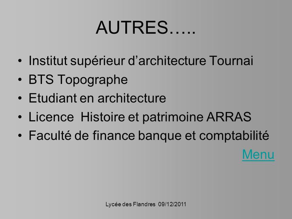 Lycée des Flandres 09/12/2011 AUTRES….. Institut supérieur darchitecture Tournai BTS Topographe Etudiant en architecture Licence Histoire et patrimoin