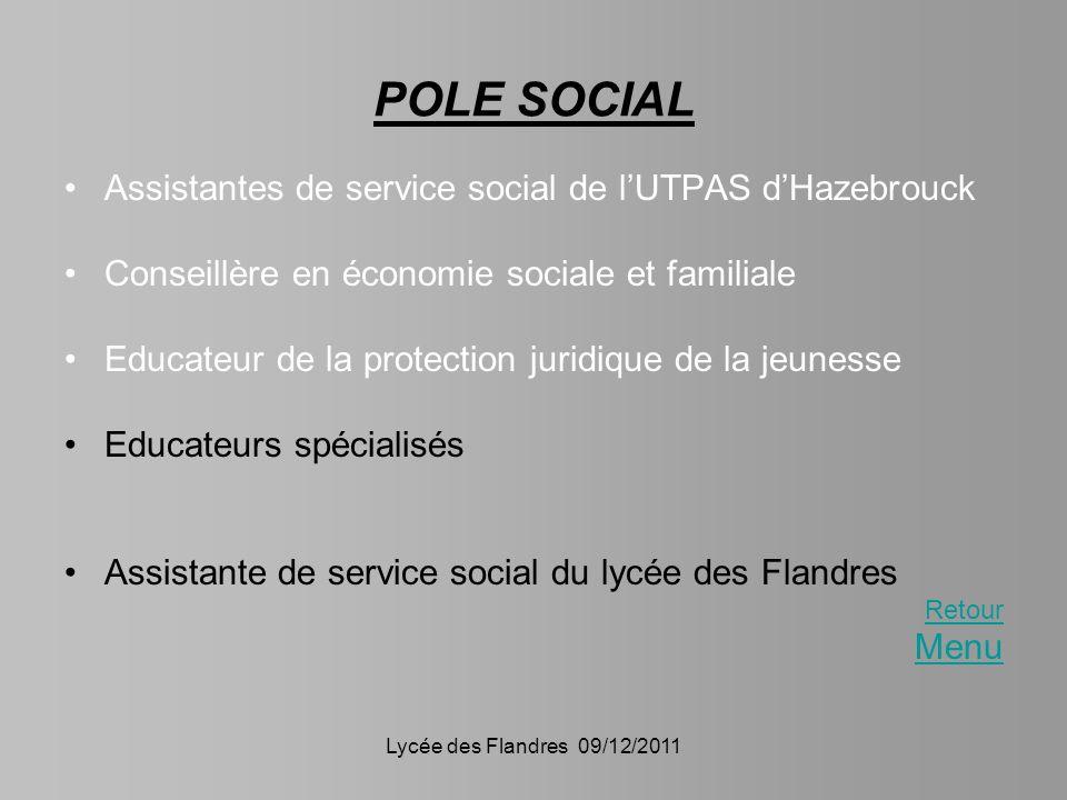 Lycée des Flandres 09/12/2011 POLE SOCIAL Assistantes de service social de lUTPAS dHazebrouck Conseillère en économie sociale et familiale Educateur d