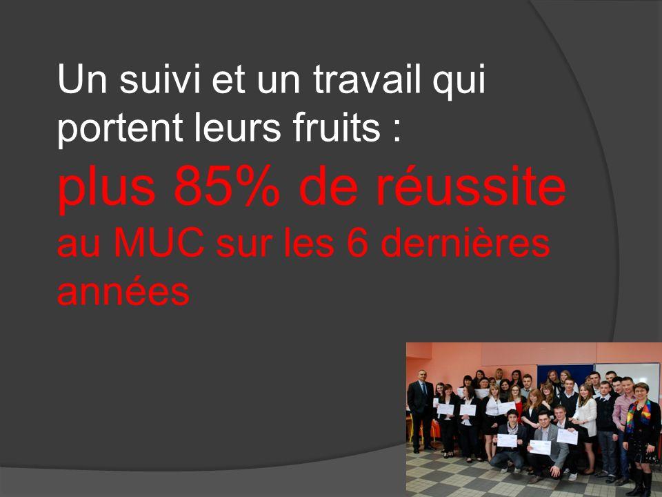 Un suivi et un travail qui portent leurs fruits : plus 85% de réussite au MUC sur les 6 dernières années