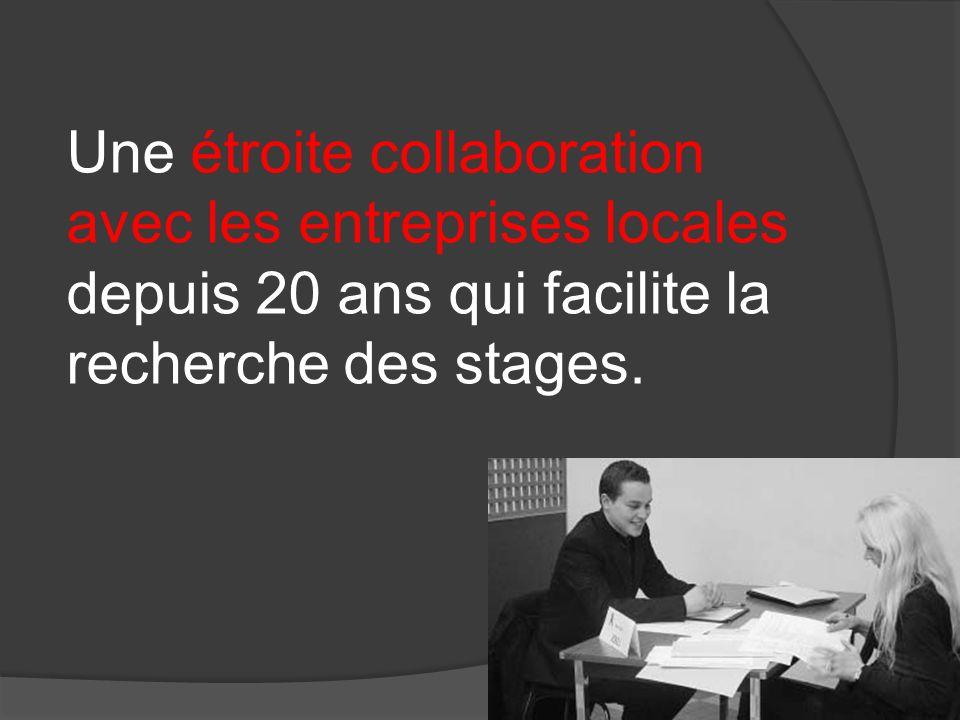 Une étroite collaboration avec les entreprises locales depuis 20 ans qui facilite la recherche des stages.