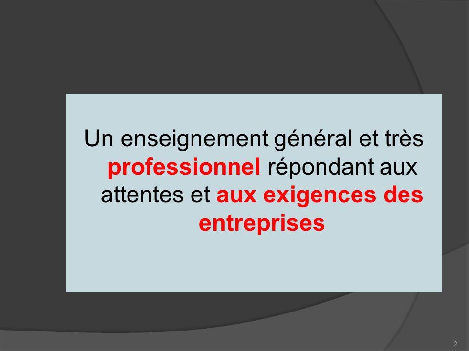 2 Un enseignement général et très professionnel répondant aux attentes et aux exigences des entreprises