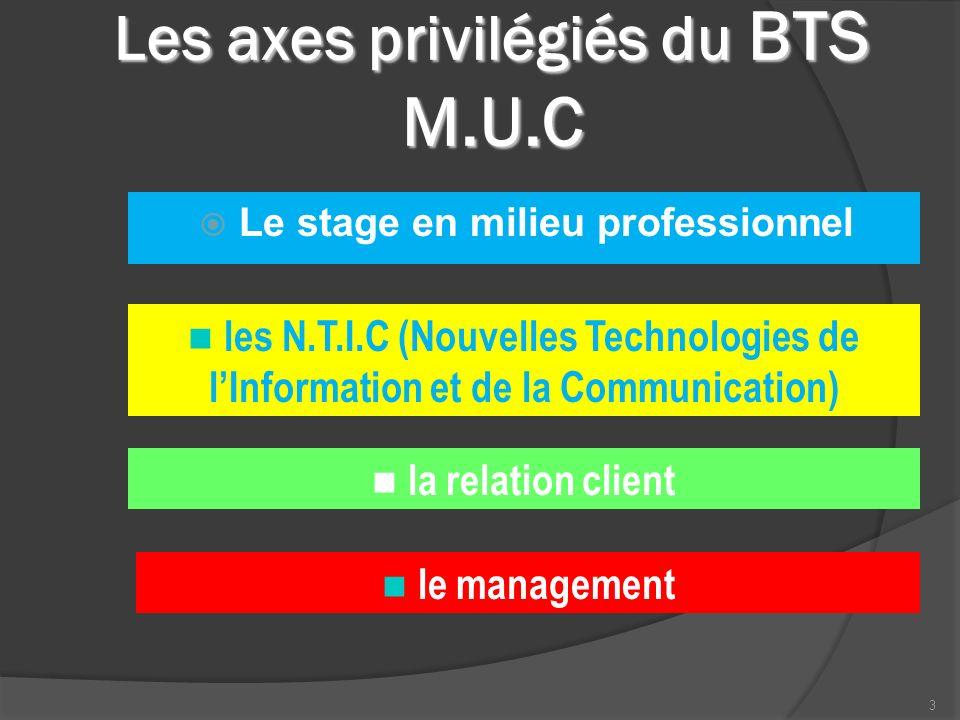 Les axes privilégiés du BTS M.U.C 3 Le stage en milieu professionnel les N.T.I.C (Nouvelles Technologies de lInformation et de la Communication) la relation client le management