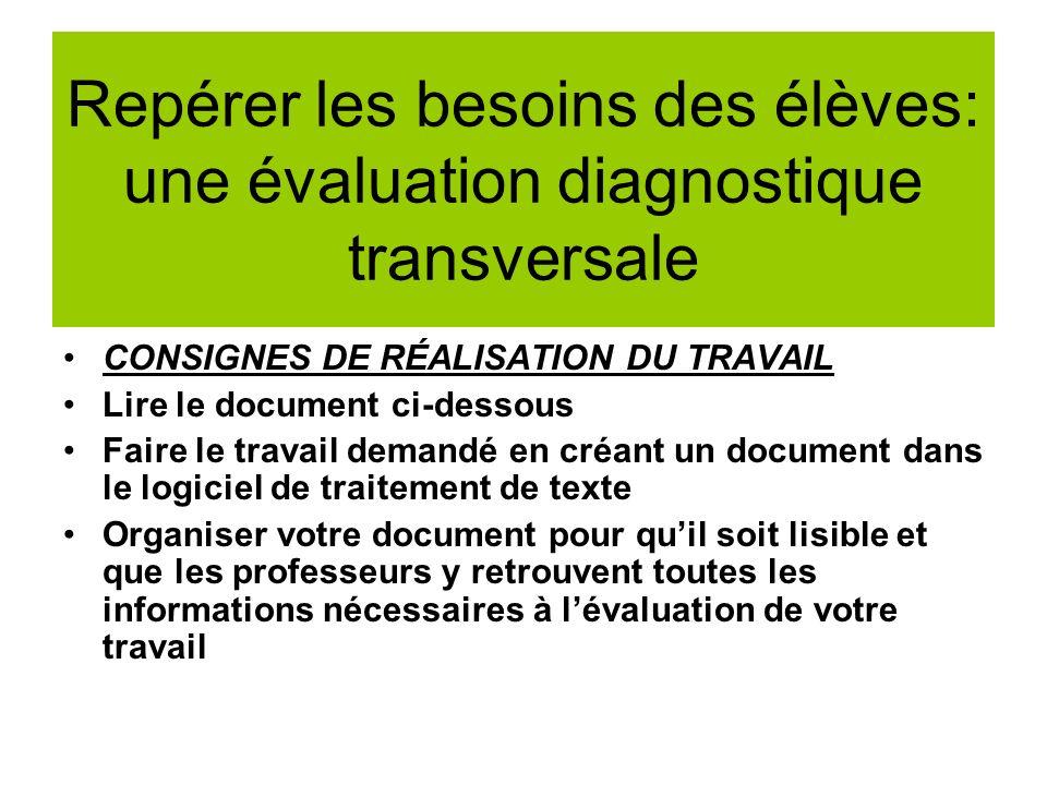 Repérer les besoins des élèves: une évaluation diagnostique transversale CONSIGNES DE RÉALISATION DU TRAVAIL Lire le document ci-dessous Faire le trav