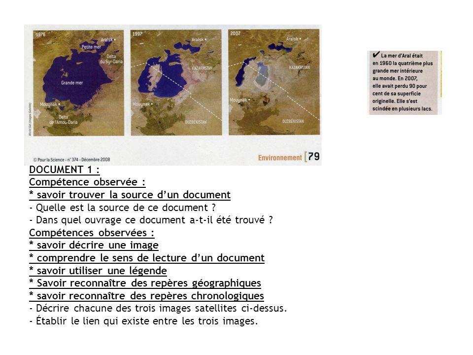DOCUMENT 1 : Compétence observée : * savoir trouver la source dun document - Quelle est la source de ce document ? - Dans quel ouvrage ce document a-t