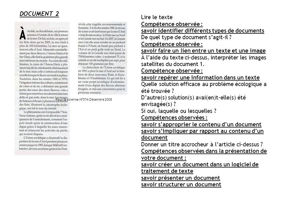 DOCUMENT 2 Pour la science-N°374-Décembre 2008 Lire le texte Compétence observée : savoir identifier différents types de documents De quel type de doc