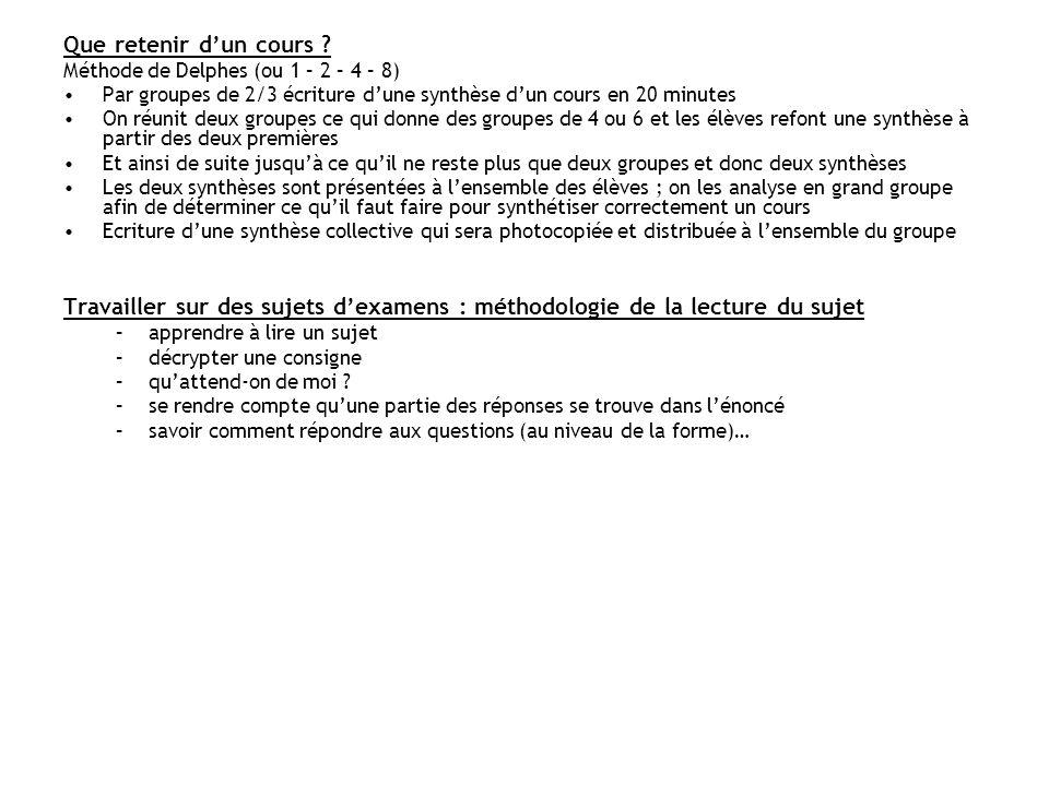 Que retenir dun cours ? Méthode de Delphes (ou 1 – 2 – 4 – 8) Par groupes de 2/3 écriture dune synthèse dun cours en 20 minutes On réunit deux groupes
