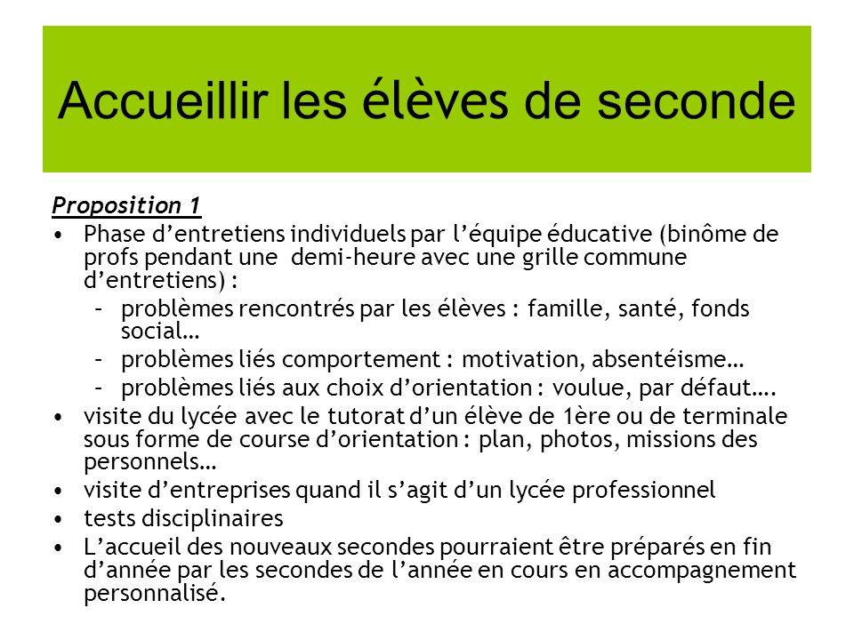 Accueillir les élèves de seconde Proposition 1 Phase dentretiens individuels par léquipe éducative (binôme de profs pendant une demi-heure avec une gr