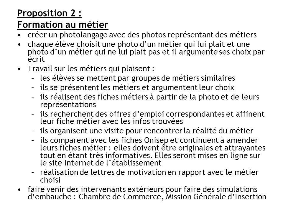 Proposition 2 : Formation au métier créer un photolangage avec des photos représentant des métiers chaque élève choisit une photo dun métier qui lui p