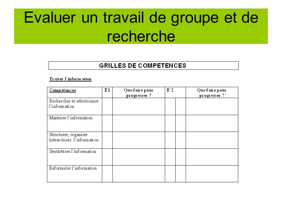 Evaluer un travail de groupe et de recherche
