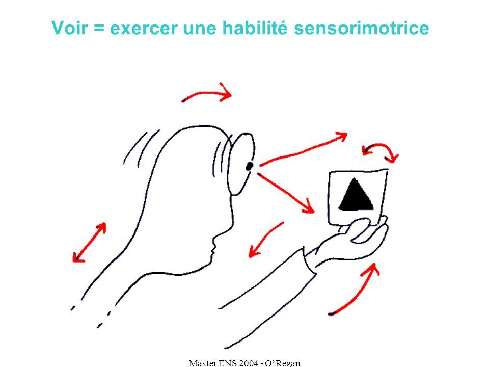 Master ENS 2004 - ORegan Voir = exercer une habilité sensorimotrice