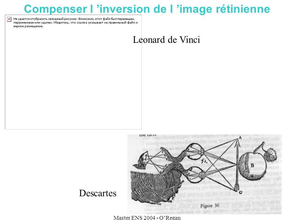 Master ENS 2004 - ORegan Compenser l inversion de l image rétinienne Leonard de Vinci Descartes