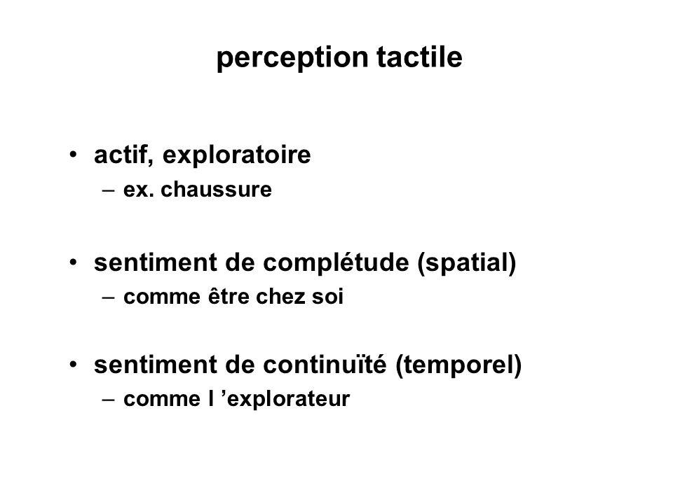 perception tactile actif, exploratoire –ex. chaussure sentiment de complétude (spatial) –comme être chez soi sentiment de continuïté (temporel) –comme