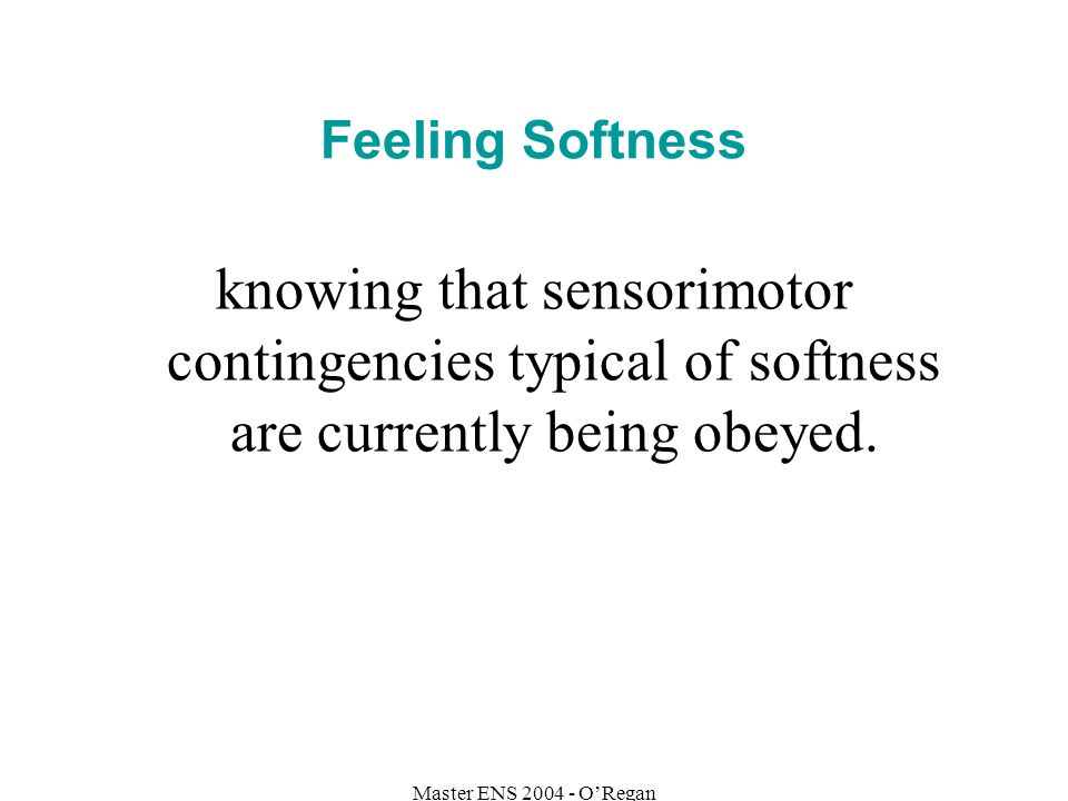 Master ENS 2004 - ORegan Feeling Softness knowing that sensorimotor contingencies typical of softness are currently being obeyed.