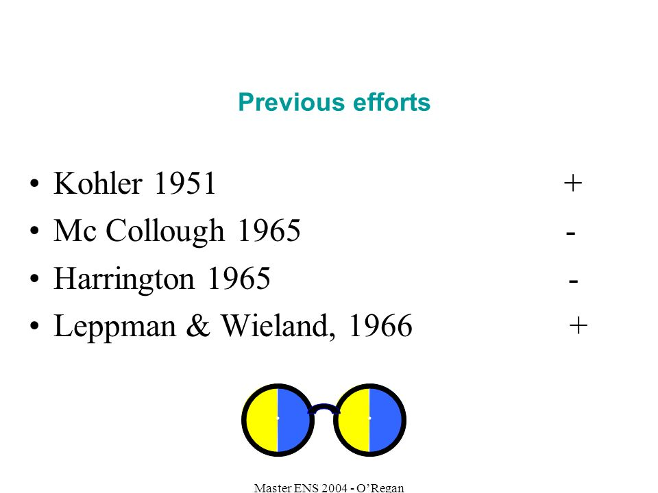 Previous efforts Kohler 1951 + Mc Collough 1965 - Harrington 1965 - Leppman & Wieland, 1966 +
